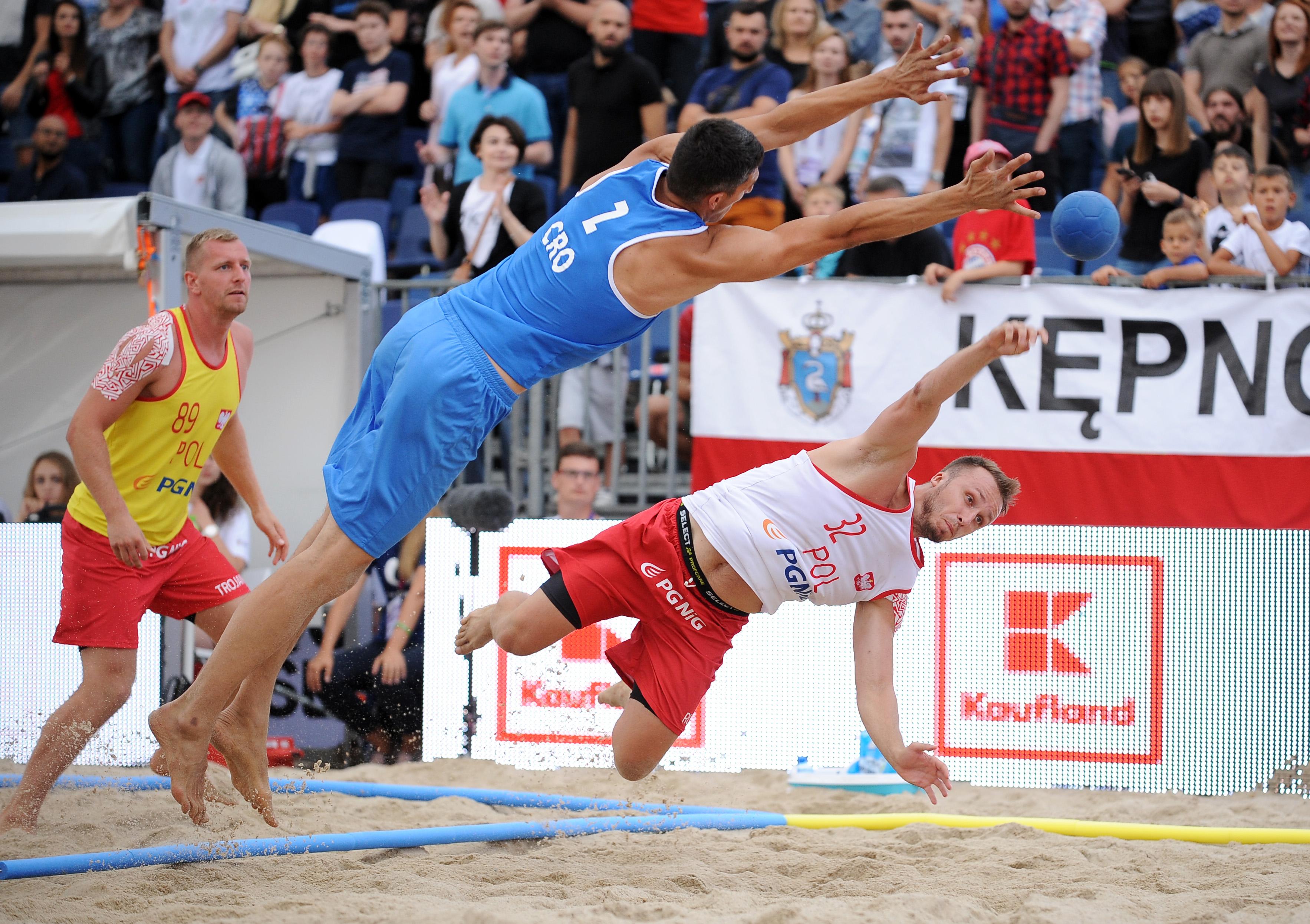 2017.07.26  The World Games Wrocław 2017 Pilka reczna plazowa Polska - Chorwacja N/z Milosz Rupp