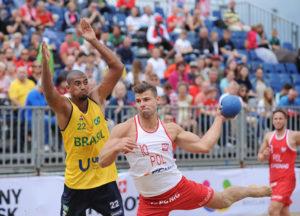 2017.07.28 The World Games Wrocław 2017 Pilka reczna plazowa Polska - Brazylia Maciej Wludarczak