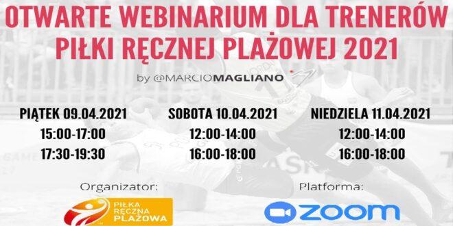 Otwarte Webinarium dla trenerów piłki ręcznej plażowej 2021 – Marcio Magliano. Ruszają zapisy!