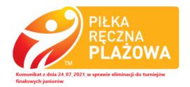 Komunikat z dnia 24.07.2021 r. w sprawie eliminacyji do turniejów finałowych juniorów.