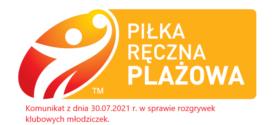 Komunikat z dnia 30.07.2021 r. w sprawie rozgrywek klubowych młodziczek.